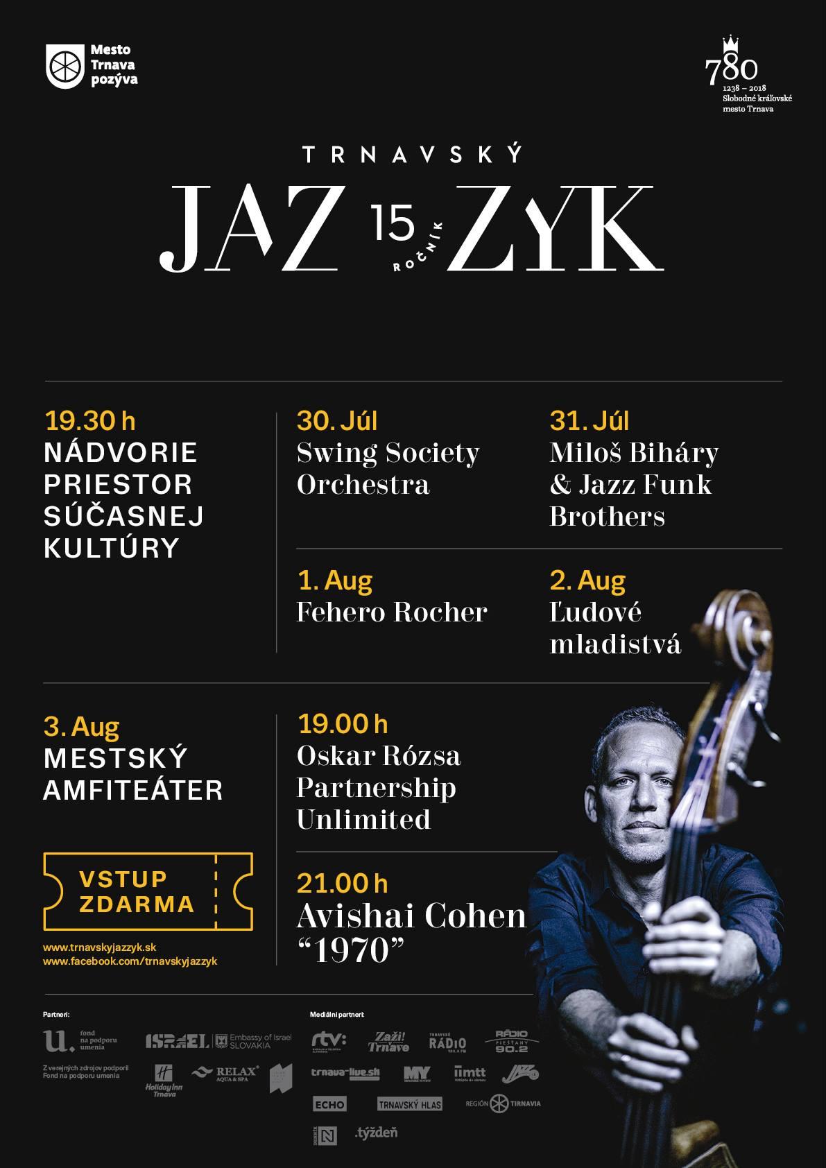 Plagát podujatia Trnavský Jazzyk 2018 v Trnave, na ktorom vystúpili Miloš Biháry & Jazz Funk Brothers Orchestra.