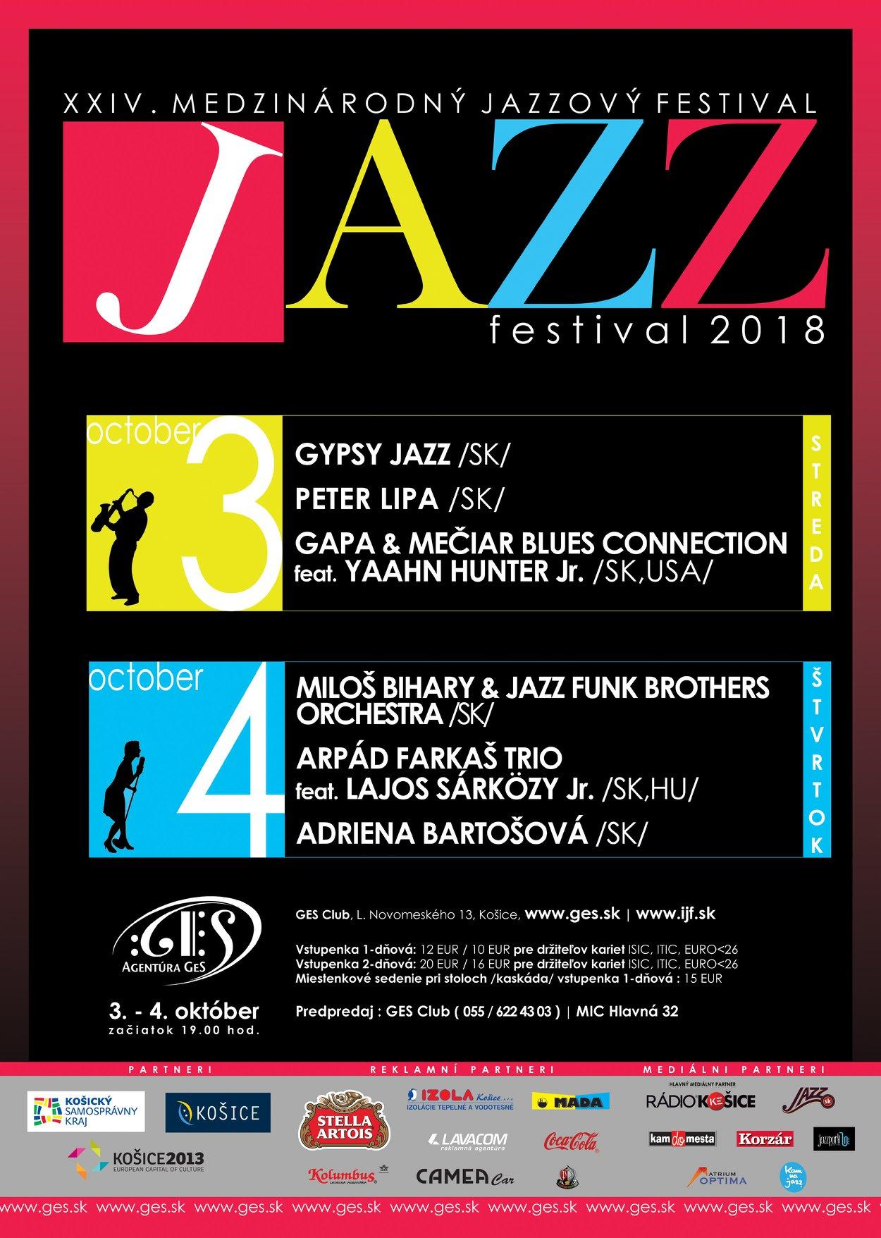 Plagát podujatia 24. Medzinárodný jazzový festival 2018 v Košiciach, na ktorom vystúpili Miloš Biháry & Jazz Funk Brothers Orchestra.