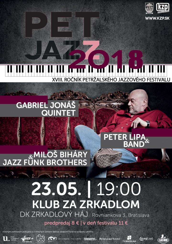 Plagát podujatia PET JAZZ 2018 v Bratislave, na ktorom vystúpili Miloš Biháry & Jazz Funk Brothers.