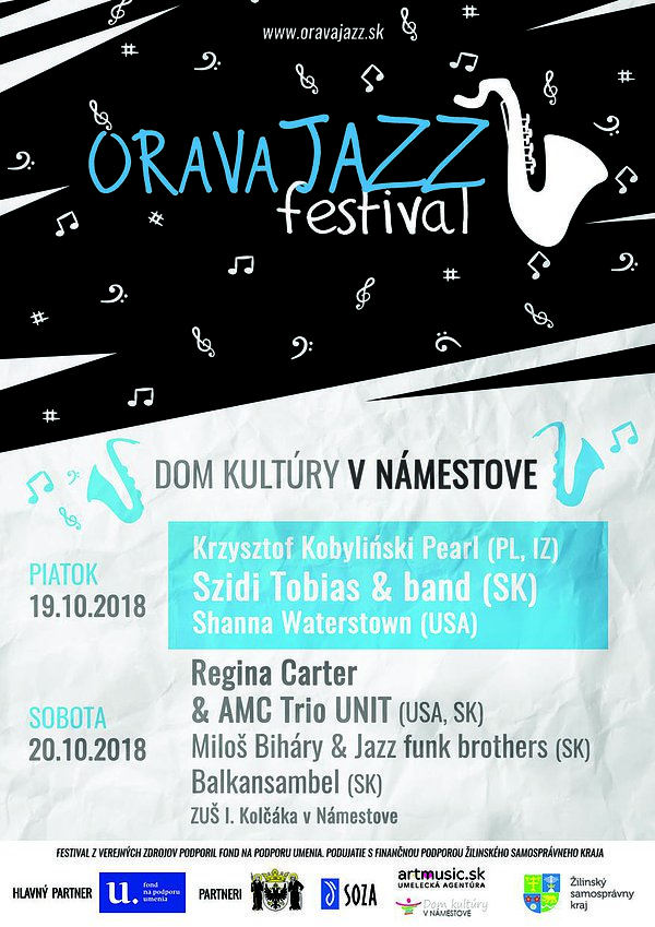 Plagát podujatia Orava Jazz Festival 2018 v Námestove, na ktorom vystúpili Miloš Biháry & Jazz Funk Brothers Orchestra.